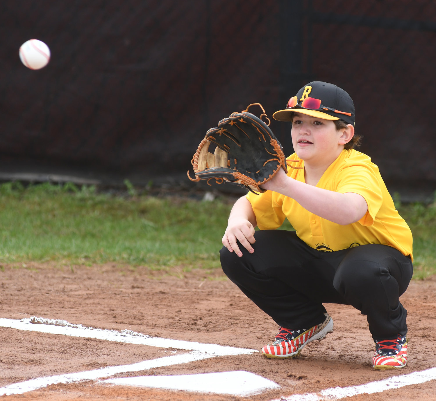PJ Summa catches a first pitch from Steven Eychner during opening ceremonies at the Bell Road baseball fields.