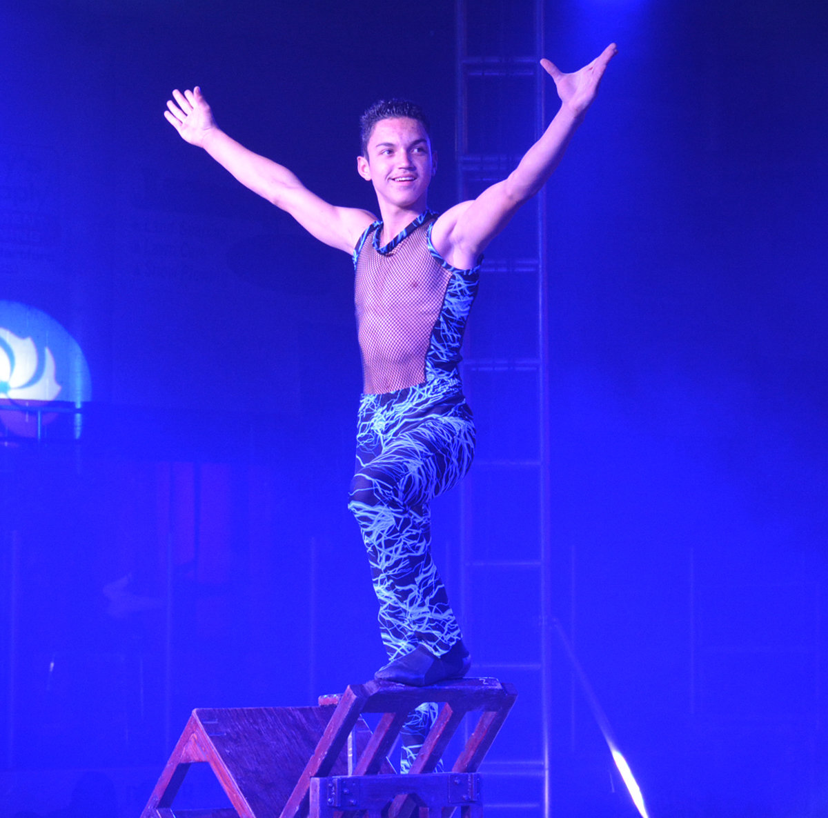 DON'T TRY THIS AT HOME — The Human Pyramid stacked chair after chair after chair on top of each other steadying himself atop each one as the stack got higher at the Garden Brothers Circus spectacular on Saturday, April 27 in the Clinton Arena. The 90-minute show included concert style lighting and music with over 60 performers from 18 countries. Garden Brothers Circus is celebrating 100 years of family entertainment with shows throughout North America.