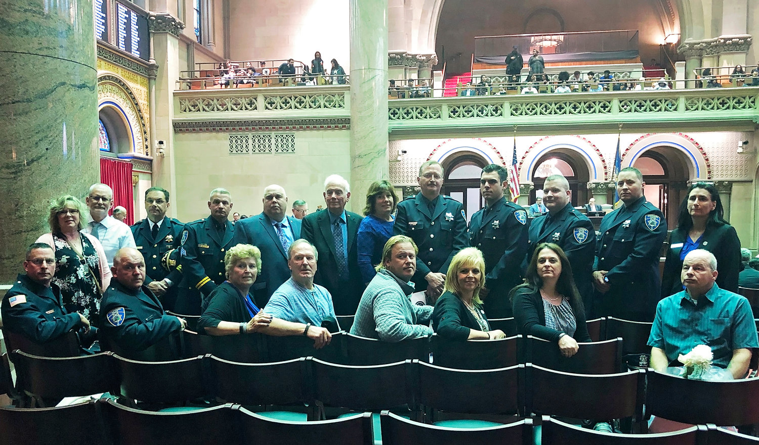 CROSSLEY HONORED — Family and friends of Whitesboro Patrolman Kevin F. Crossley gathered in Albany earlier this week as the officer's name was added on Tuesday to the New York State Police Officer's Memorial in the state capital.