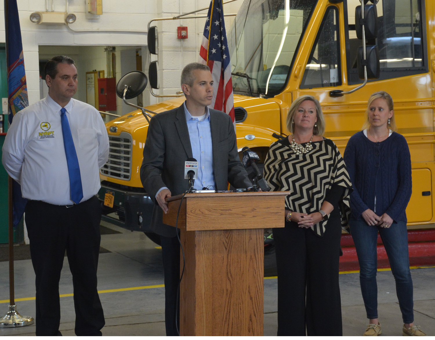 NEW LEGISLATION ANNOUNCED— U.S. Rep. Anthony Brindisi addresses Westmoreland school bus drivers about the new bill he is co-sponsoring designed to help strengthen safety concerns for school bus boarding and exciting. He explained the bill has bipartisan support and is hopeful for it's passing within the year.
