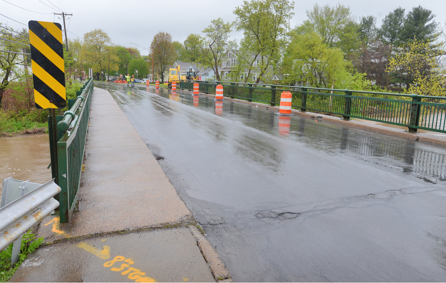 WORK UNDERWAY — The Utica Street Bridge in Oriskany is in the preliminary stages of rehabilitation with a pedestrian bridge to soon be installed.  Work will commence on the bridge starting in June and last through October.