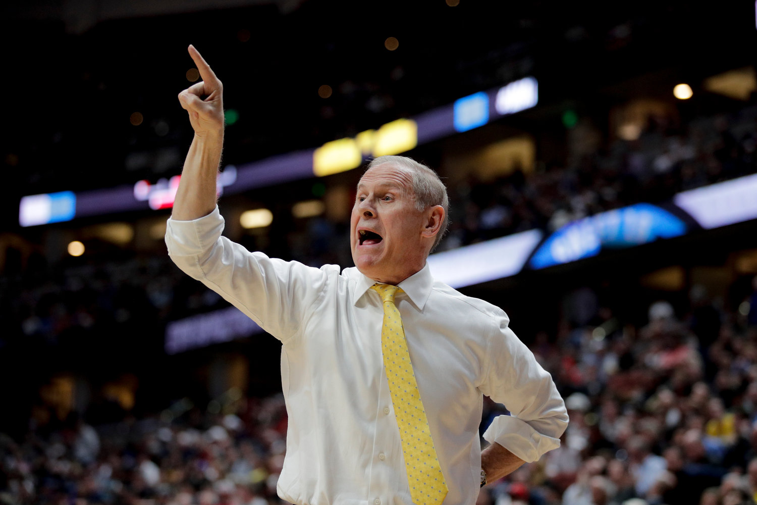 MOVING ON — John Beilein, shown coaching Michigan in the NCAA tournament earlier this year, is leaving the Wolverines to coach the Cleveland Cavaliers.
