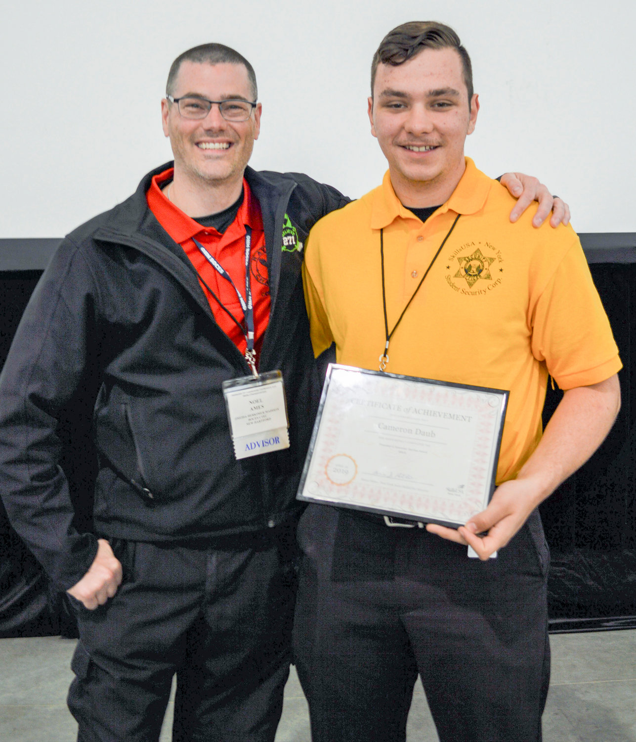 SERVICE AWARD — Pictured from left are Oneida-Herkimer-Madison BOCES Criminal Justice instructor Noel Ames and Cameron Daub, of New Hartford. Daub was named as the individual recipient of the 2019 Presidents Gold Community Service Award.