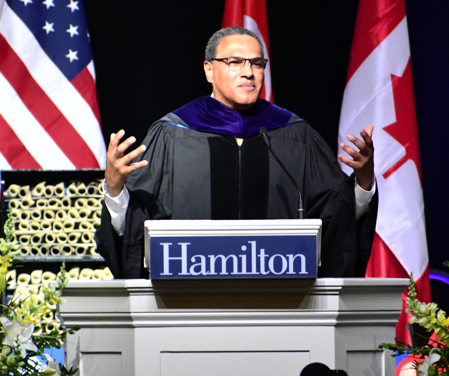 GUEST SPEAKER — Educator, advocate and mathematician, Freeman A. Hrabowski III gave an inspirational speech at Hamilton College that included thanking the parents of the Class of 2019 for a job very well done on Sunday, May 26 at the Margaret Bundy Scott Field House during the annual commencement ceremony.