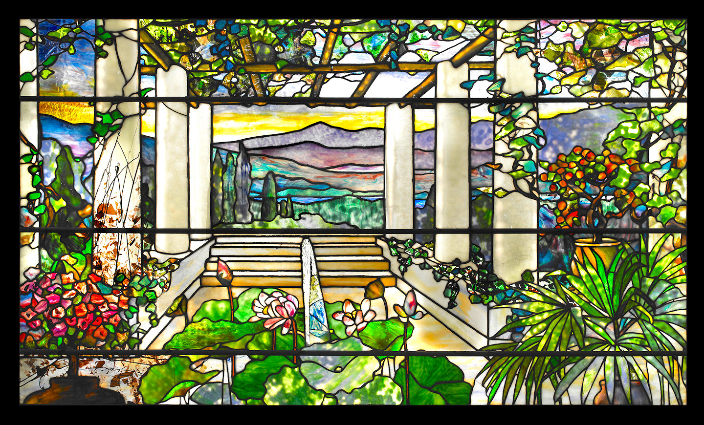 Garden Landscape Window — 1900-1910, leaded glass, Tiffany Studios