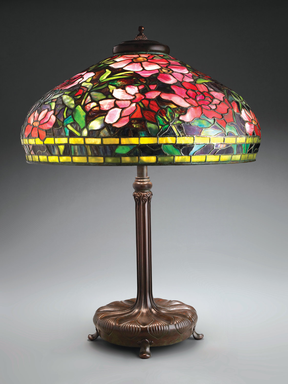 Peony Lamp — c. 1903-1905, bronze, leaded glass, Tiffany Studios