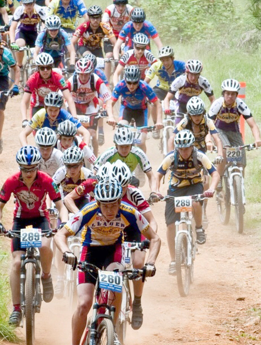 RACE ON — A typical National Interscholastic Cycling Association, race for older high school kids.