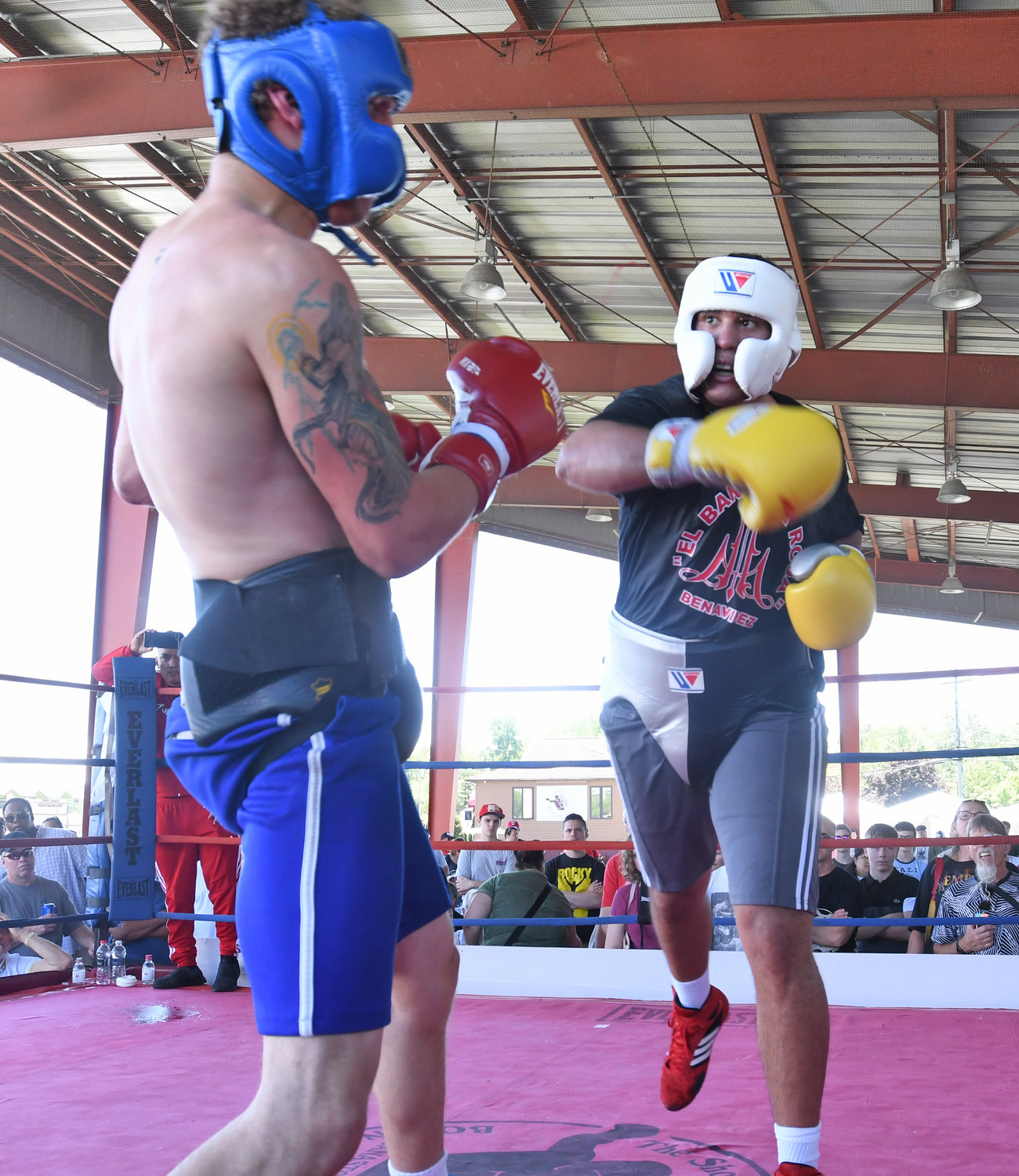 WORKOUT SESSION — Utica boxer Micheal Rycraft was the sparring partner of former World Boxing Council super middleweight champion David Benavidez during a public workout session at the International Boxing Hall of Fame on Friday afternoon.