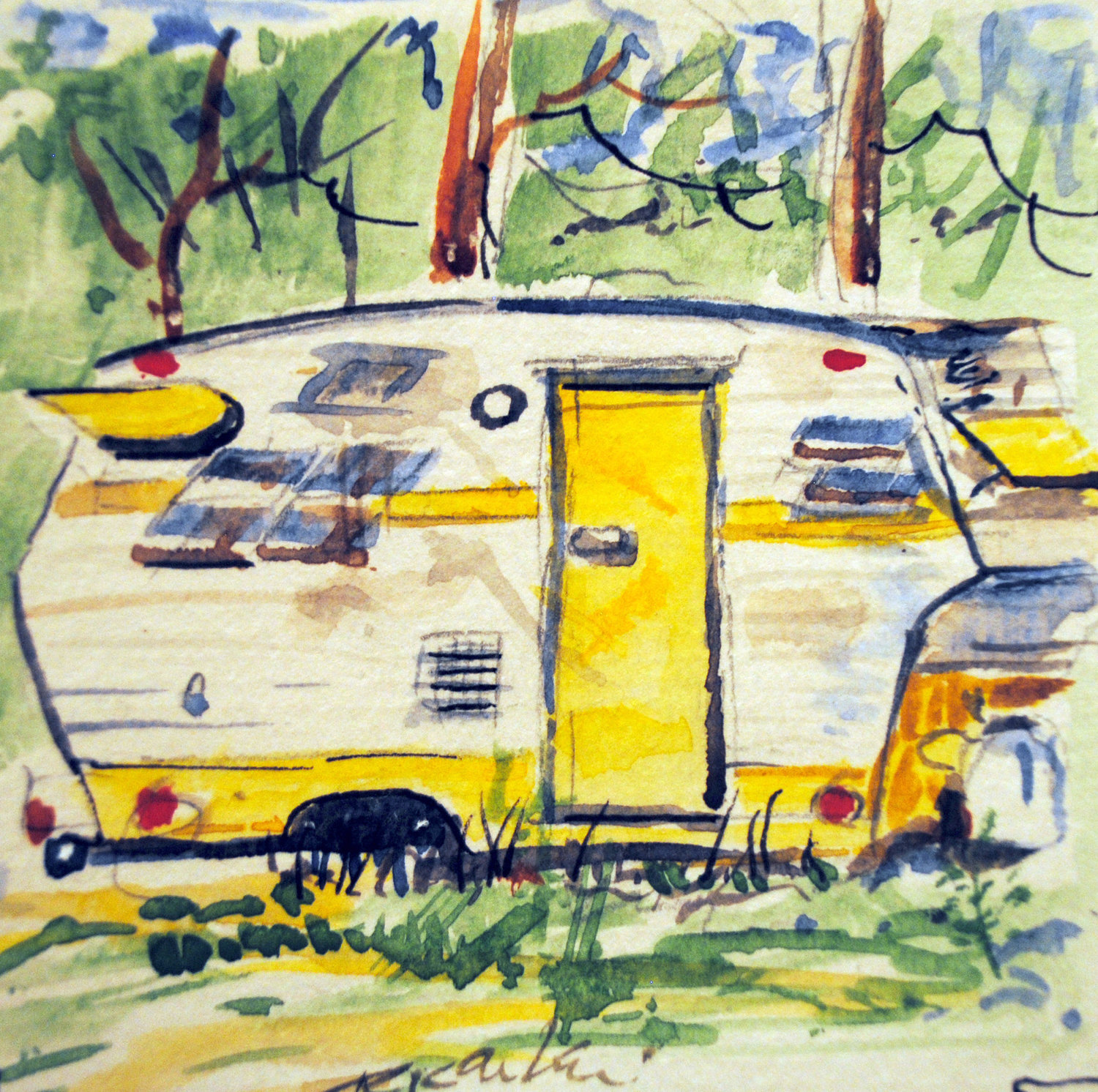 SUMMER DESTINATION — This traveling trailer is just one of the summer-themed watercolor paintings that were featured during last year's Just Add Water exhibit.