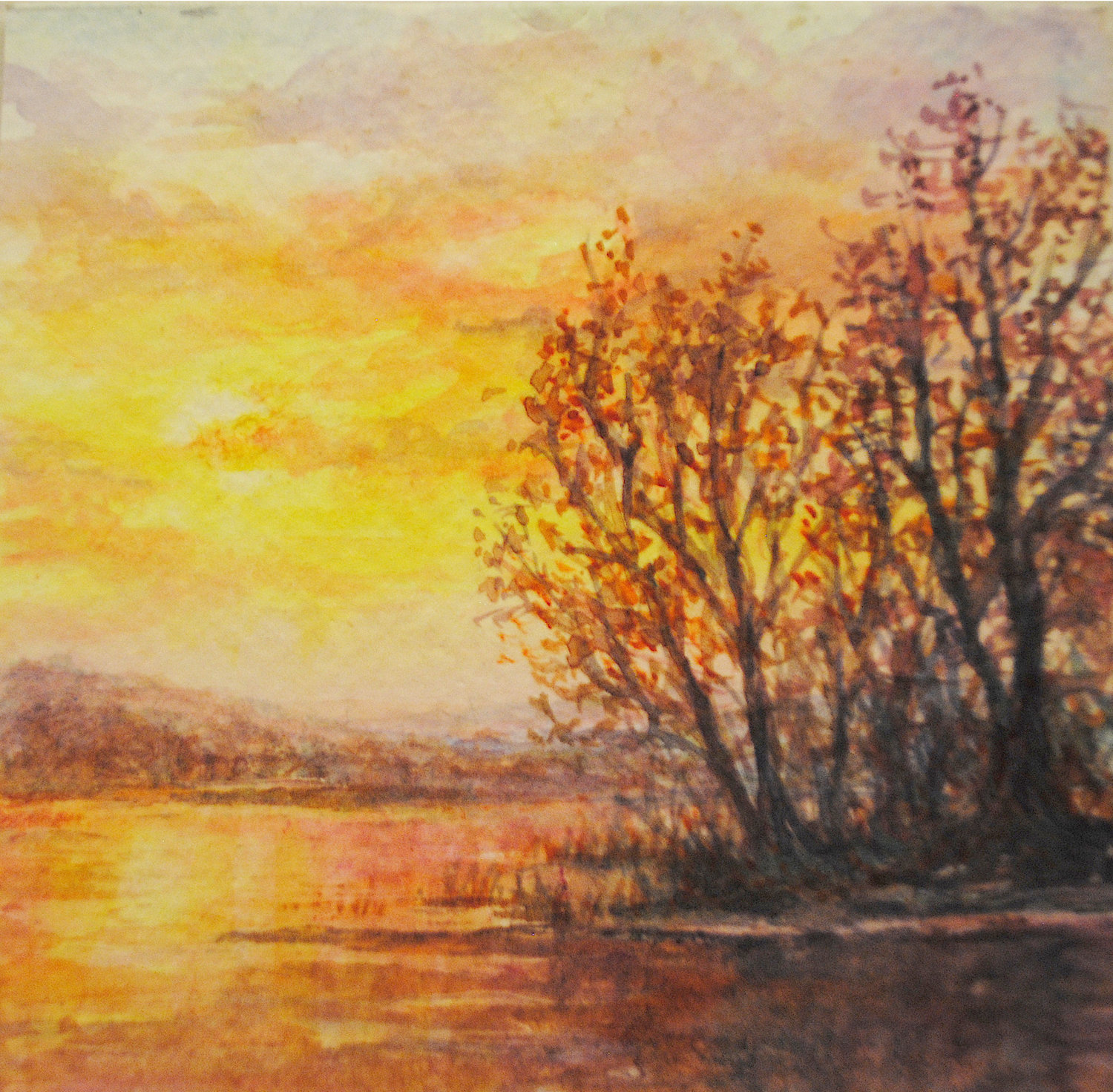 STRIKING SUNSET — An autumn sunset by an anonymous artist waste of the pieces featured in the Just Add Water exhibit last year.