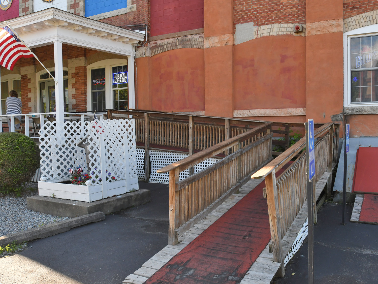 WORK TO BE DONE — Clark Mills American Legion Post 26 is currently raising funds to replace the handicap access ramps at both the front and rear of the historic building.