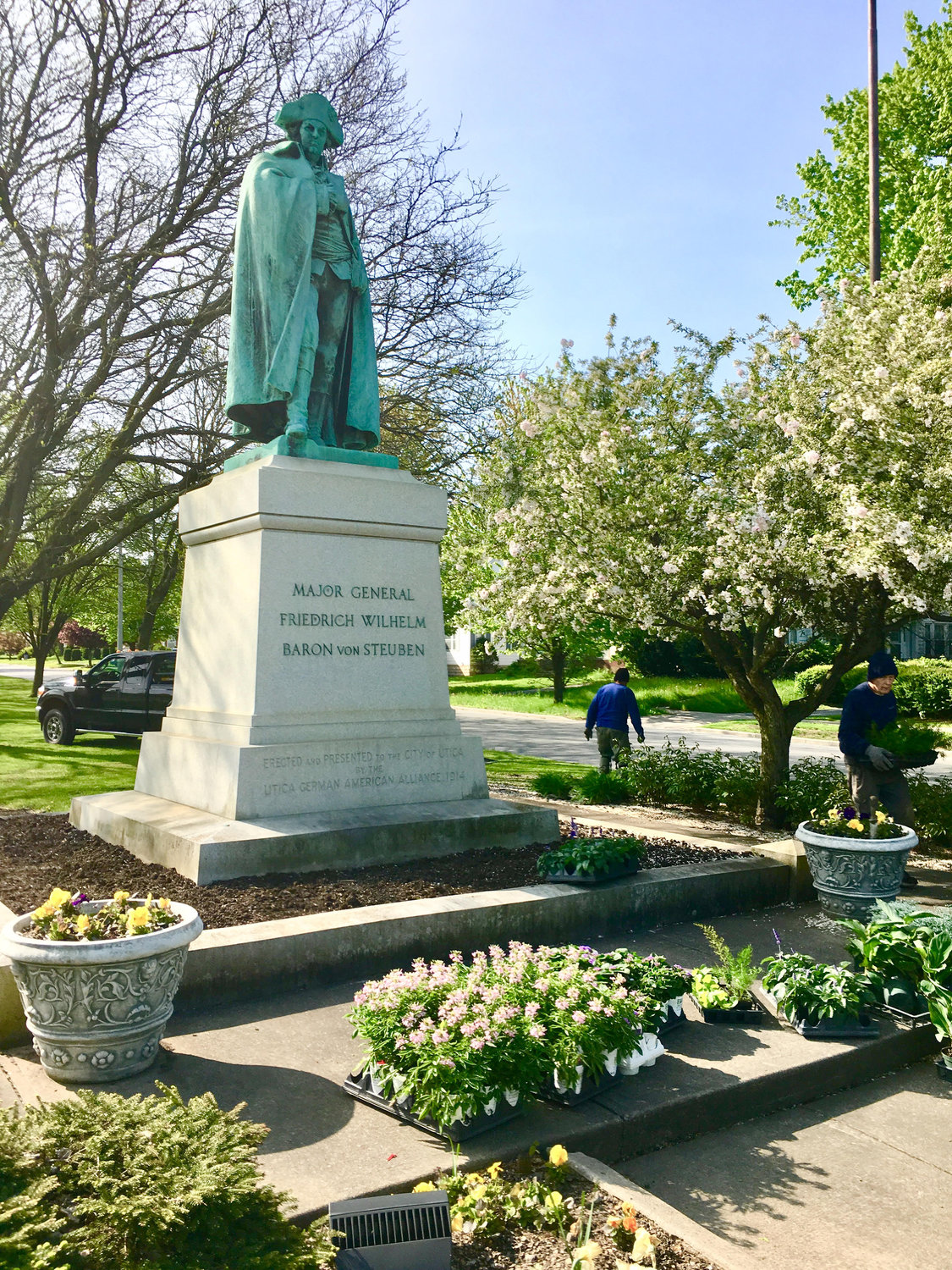 HISTORIC MARKER — The Gen. Baron von Steuben statue honoring the Revolutionary War ally and hero at the Memorial Parkway is surrounded my new flowers planted by members of the non-profit Central New York Conservancy, which works to rehabilitate and maintain Utica's parks system.