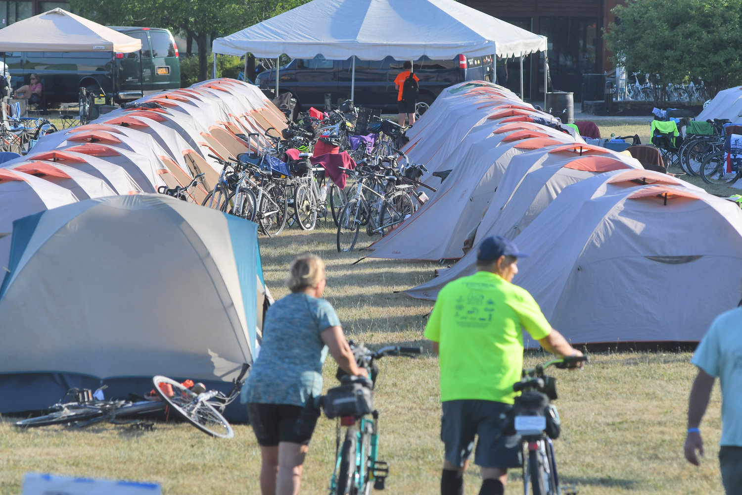 TENT CITY — Riders on the Cycle the Erie Canal Bike Tour will camp out on Fort Stanwix's lawn on Thursday night. Aftershopping at Rome's stores, patronizing its restaurants and eating breakfast at the Y, riders will hit the road for Canajoharie Friday morning.