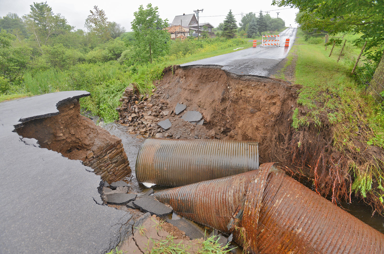 Slater Road washout in the Town of Annsville