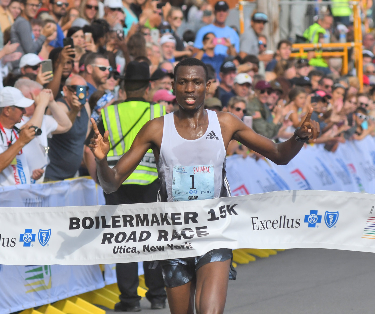 BACK-TO-BACK CHAMP — Gabriel Geay of Tanzania won his second straight Boilermaker 15K on Sunday, finishing in 43:36. The 22-year-old was three seconds ahead of Mohamed Reda El Aaraby of Morocco.