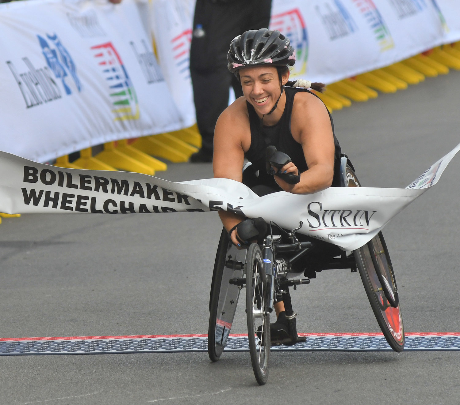 WOMEN'S CHAMP — Women's wheelchair division winner Jenna Fesemyer, 22, of Illinois won her first Boilermaker title with a time of 43:07.