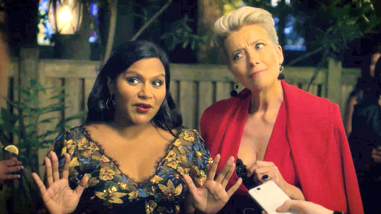 "co-stars — Mindy Kaling with co-star Emma Thompson in ""Late Night"""