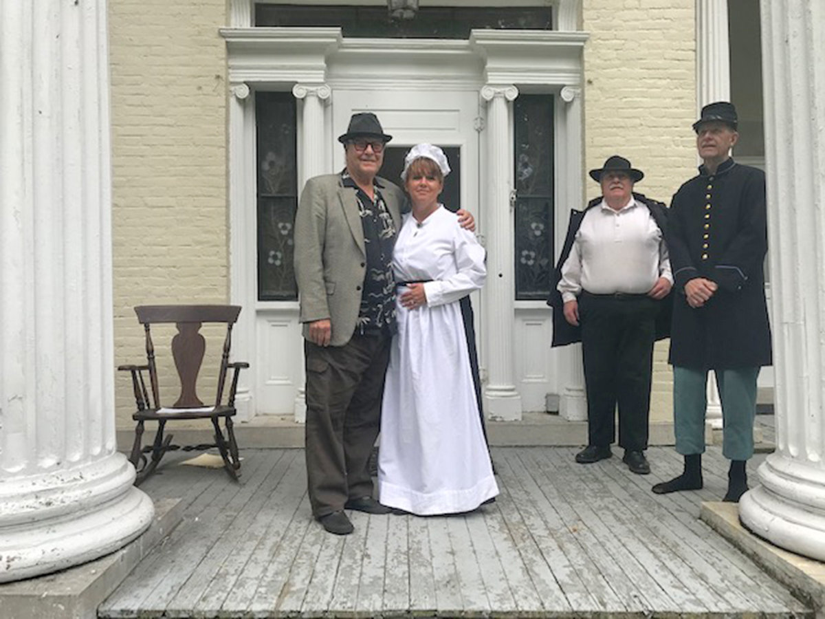 MAKING MOVIES — Director Peter-Henry Schroeder, formerly of Rome, left, recently visited Waterville from Los Angeles to shoot a Civil War movie trailer. With him are local actors Jen Blumberg, Dennis Willard and Don Jeffrey.