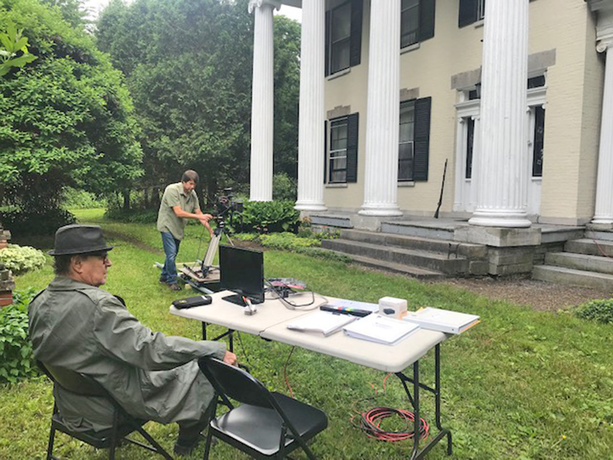 """ON SET — Actor/director/producer Peter-Henry Schroeder, former Roman, gets ready to direct a scene for a trailer introducing the Civil War film, """"Soldier's Joy,"""" while on location in Waterville."""