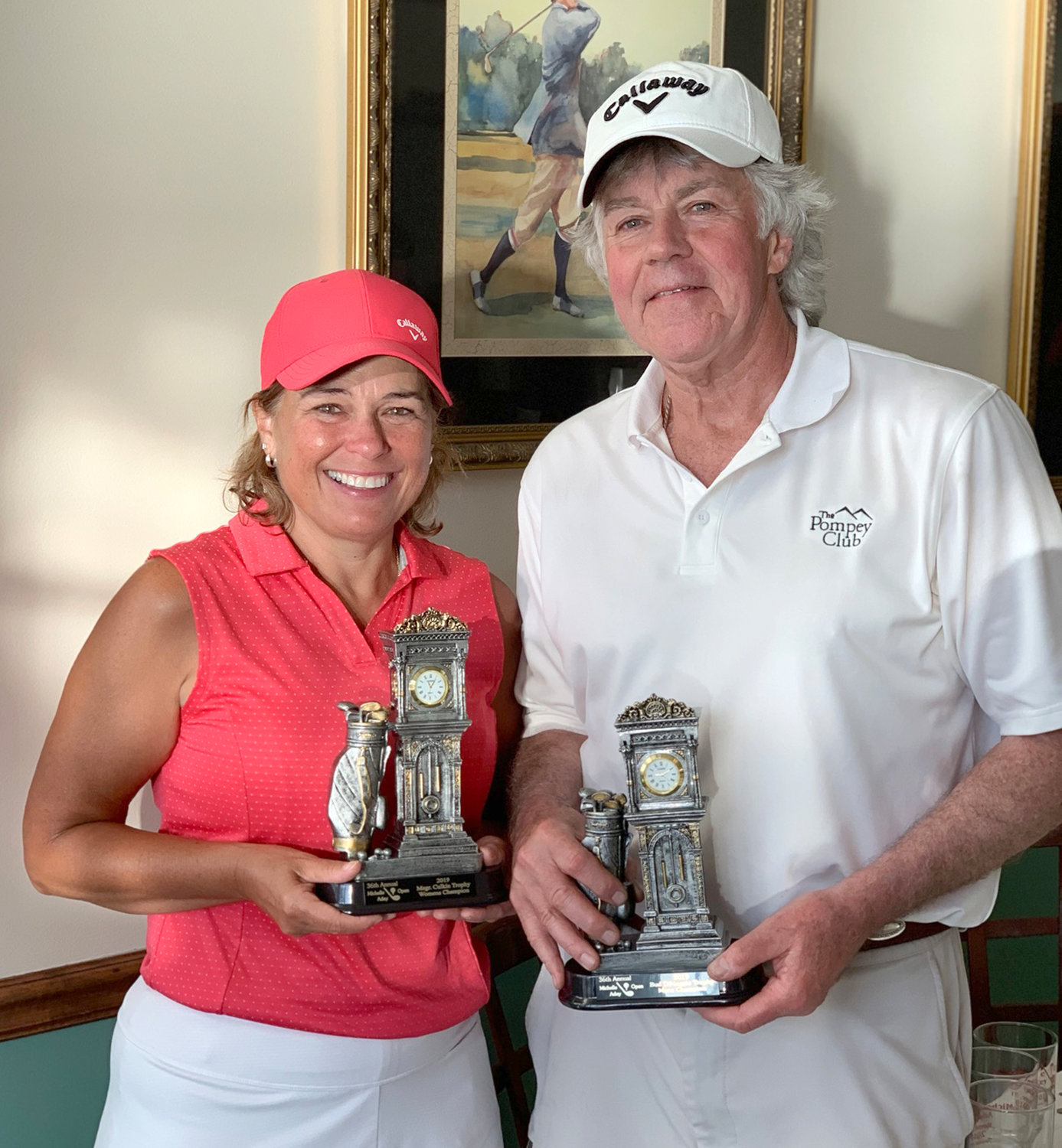 MICHELLE ADEY OPEN CHAMPS — The 36th annual Michelle Adey Open was held July 15 at Teugega Country Club. Pictured are women's and men's division champions Deb DiMaggio and Tim Rees. The event is the largest fundraiser for The Michelle M. Adey Memorial Fund, which was started in memory of Michelle Adey, who died in 1982 at the age of 6 from cystic fibrosis. The fund assists families with children suffering from life-threatening illnesses and injuries. This year's event also marked a milestone, as with the funds raised from the golf event the Michelle Adey Fund surpassed $1 million in total donations to the fund over the 37 years of the fund's existence.
