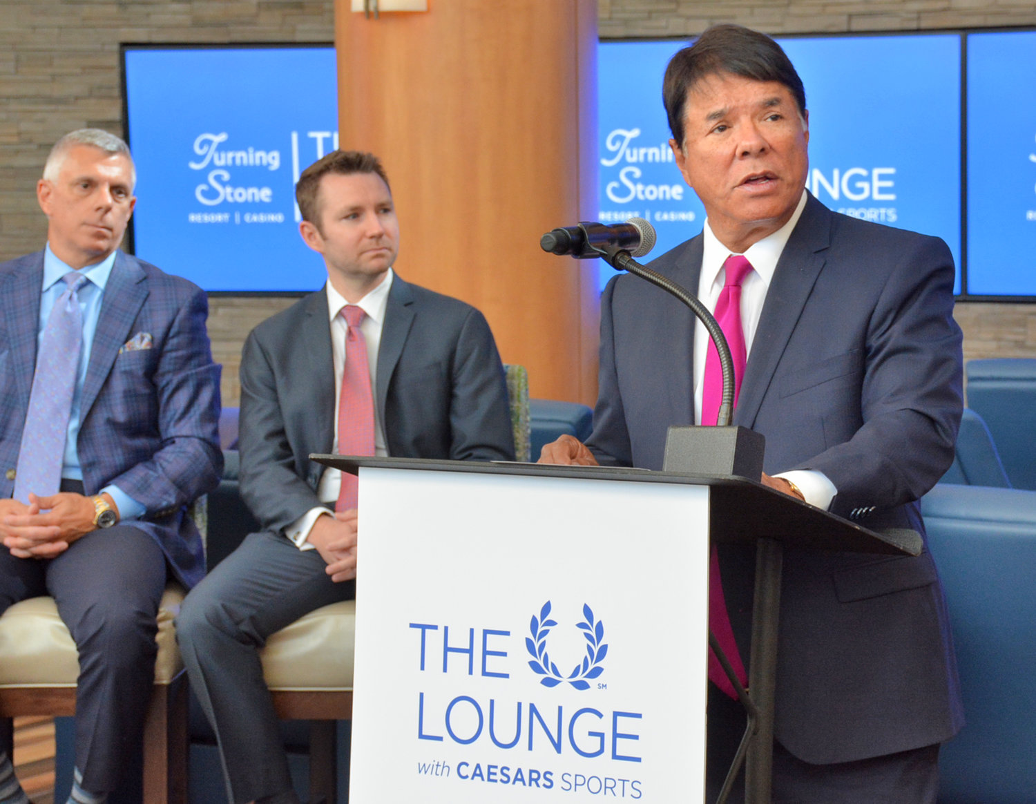 "PLACE YOUR BETS— Oneida Indian Nation CEO and representative, Ray Halbritter announces the grand opening of ""The Lounge with Caesers Sports."" on Thursday, Aug. 1 at the Turning Stone Casino."