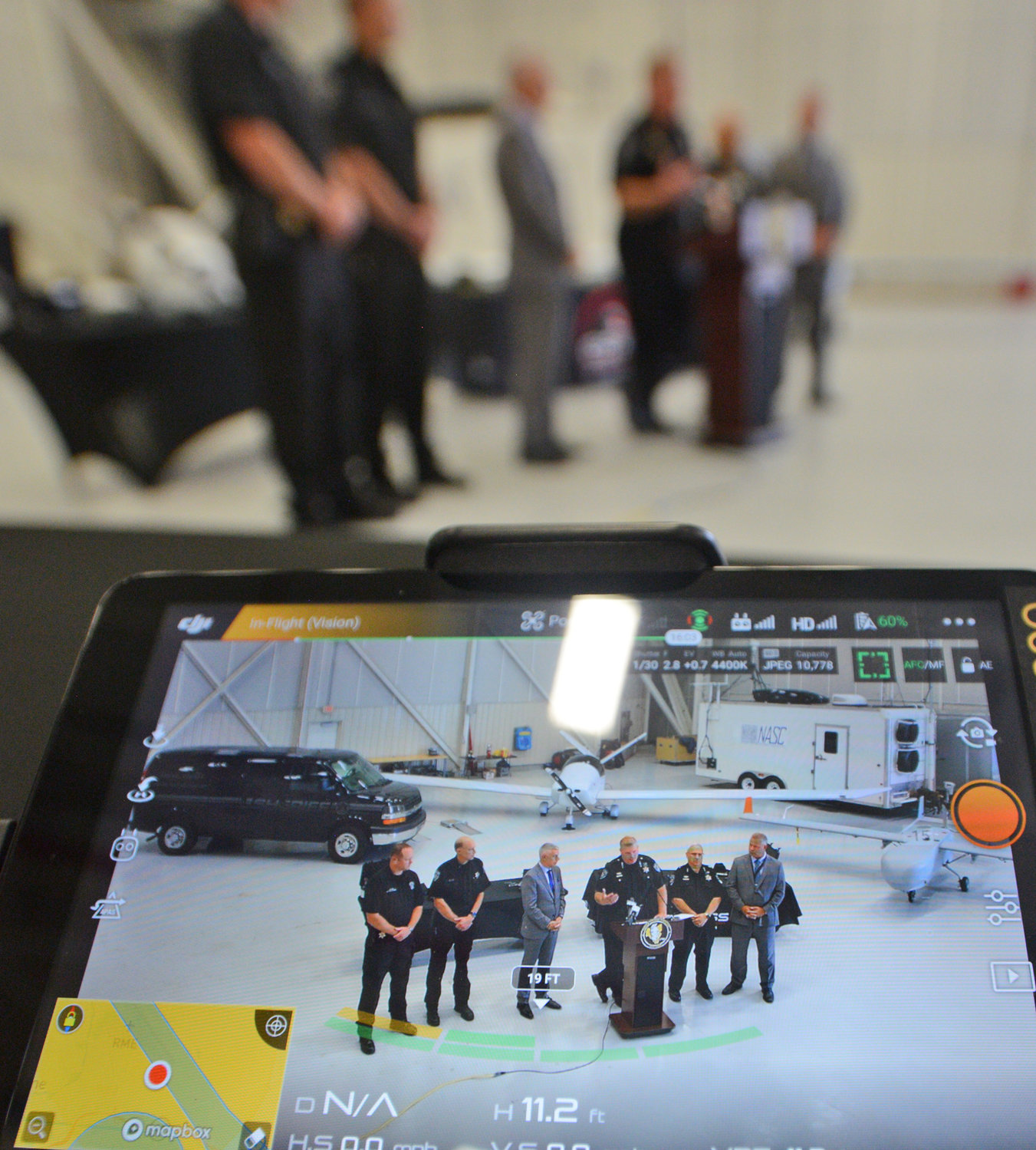 CAMERA CLARITY — The sharp picture of the drone-mounted cameras was shown off at the Griffiss International Airport this morning. Sheriff Robert M. Maciol announced his new drone unit with several demonstrations.