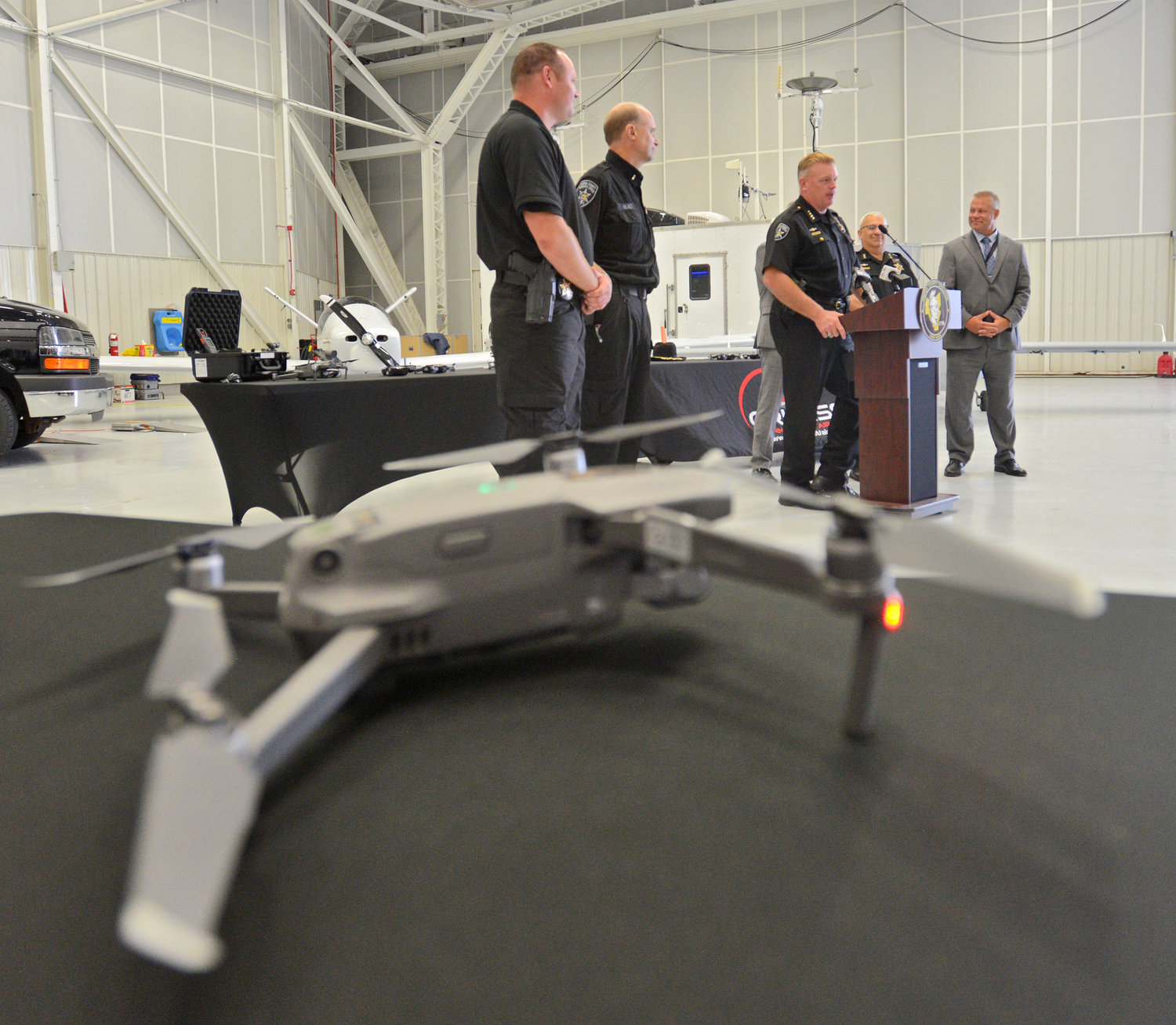 NEW DRONE UNIT — Sheriff Robert M. Maciol announced the creation of a new Unmanned Aircraft Systems Unit for the Sheriff's Office this morning at the Griffiss International Airport.