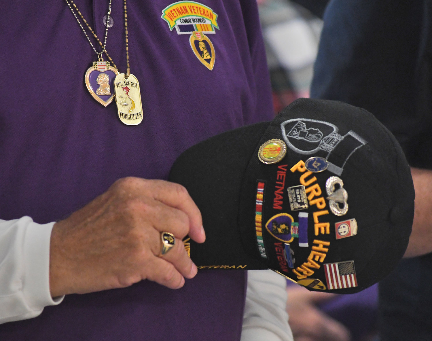 Purple Heart observance ceremony at the Adirondack Bank Center Wednesday afternoon.
