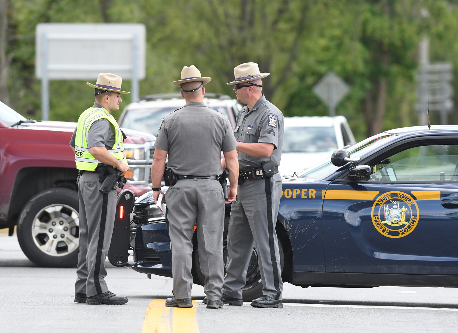 ROAD CLOSED — Three state troopers closed off Route 46 at the intersection with Route 31 during a nearby stand-off Friday afternoon.