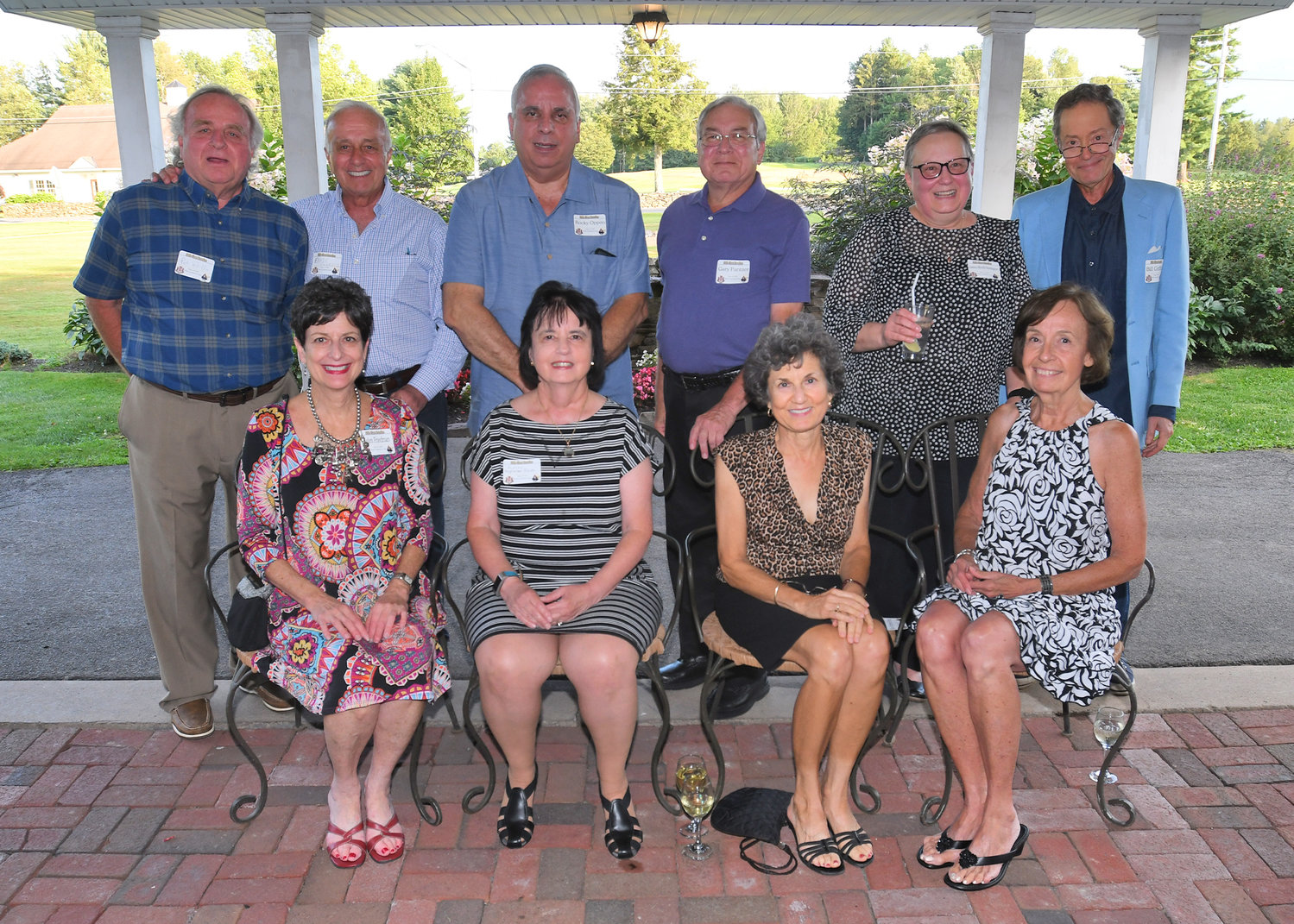 REKINDLING OLD FRIENDSHIPS — Harkening back to their days at the old Rome Free Academy on Turin Street and also making new memories were members of the Class of 1969, who gathered for their 50-year-reunion on Friday.  Among those attending, from left, front row:  Helen Friedman, St. Louis, Mo.; Andrea Guglielmo Bocko, Painted Post;  Susan Stromei Berg, Willamsburg, Va.; and Milena Jovanovitch, Bethel, Conn.; back row:  Patrick Pirillo;  Ernie Panasci; Rocky Oppito, Binghamton; Gary Pantzer, Oneida; Justina Micelli Horsington, Rochester; and William Griffiths.