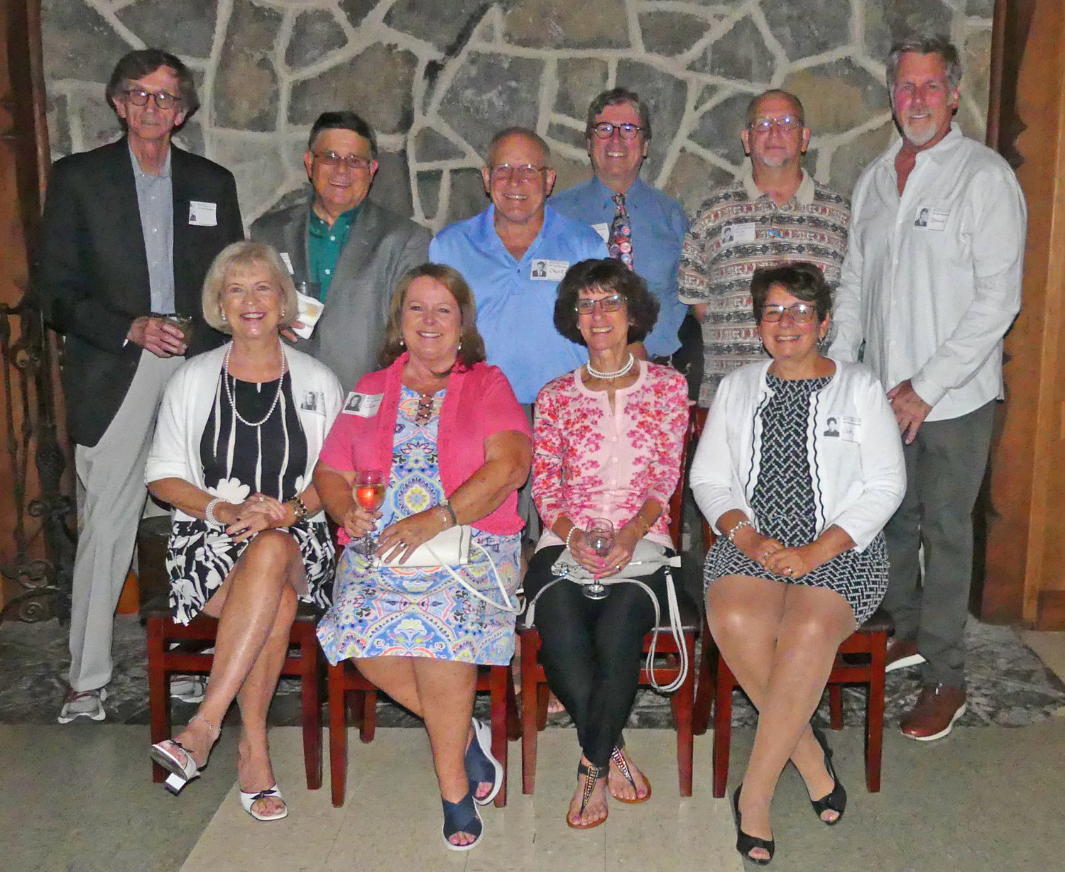 CATCHING UP — The Rome Catholic High School Class of 1969 gathered on Saturday, Aug. 10, at the Teugega Country Club for a dinner to share old times and also catch up on the past 50 years.  Among those attending the celebration were, from left, front row: Betsy Barry Knapp, Smithfield, Va.; Jean Laverick Vaccaro, Chula Vista, Calif.; Denise Cataldo Giardino; and Judith Quattro Mullin; back row: John Sturbin, Fort Worth, Texas; Daniel Vaccaro; Donald Raymond, Saratoga Springs; Robert Zeimann, Leander, Texas; Michael Cary, Ogdensburg; and Bruce Berglund, Costa Mesa, Calif.