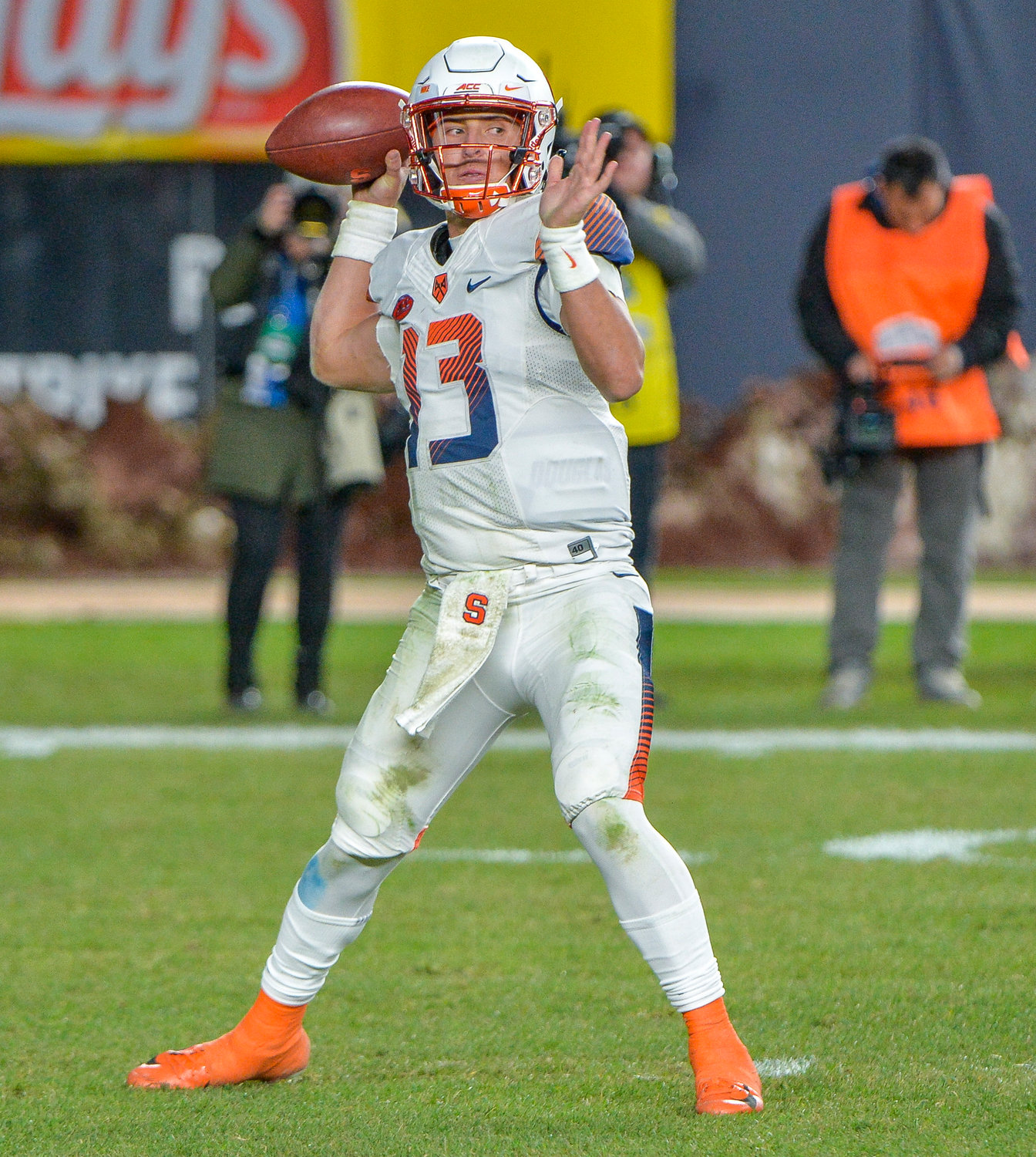 NEW STARTER — Syracuse quarterback Tommy DeVito, shown during a game against Notre Dame last year, is ready to step in as the leader of the Orange offense this season.