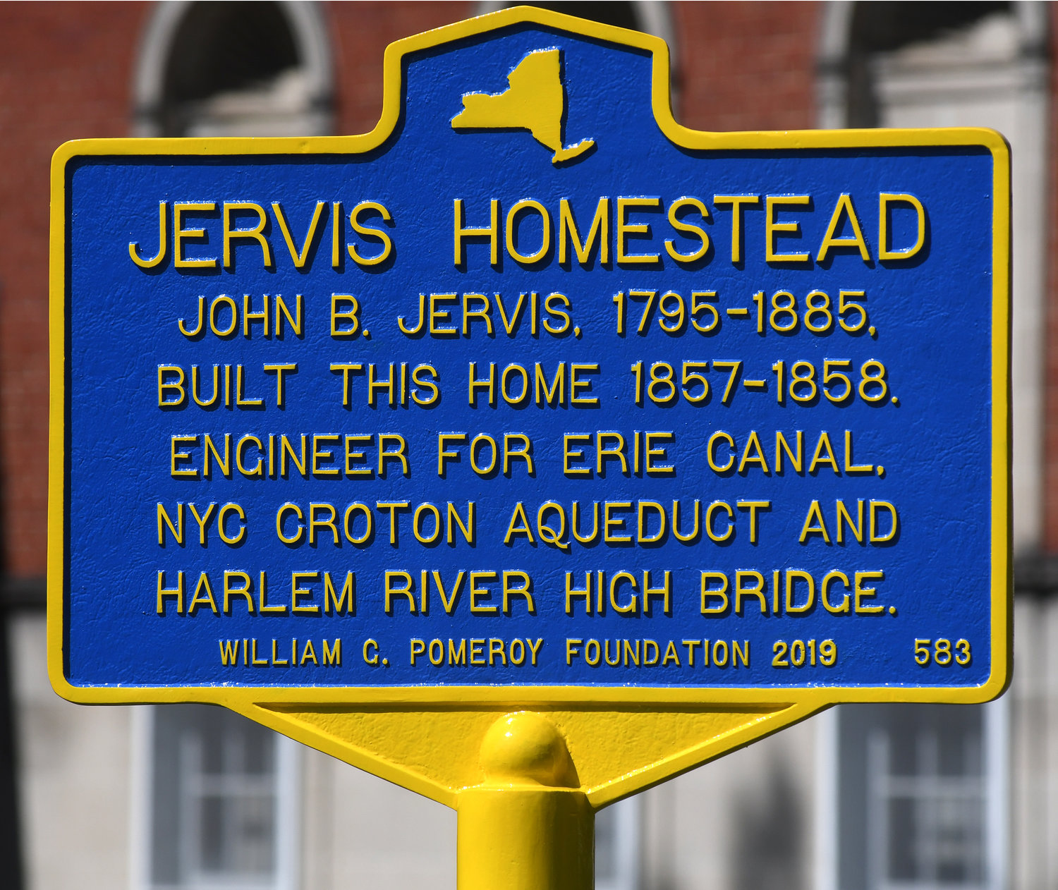 HONORING JERVIS — The Jervis Homestead marker that is new after the old one was destroyed by a fallen tree limb.