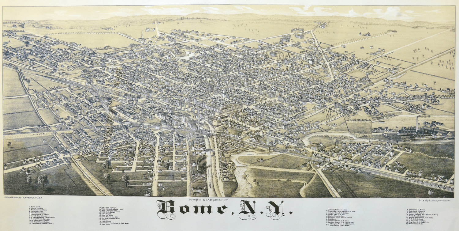 LIthograph of 1886 map of Rome, NY that will be on displayed in Dillon Room which is the magazine room in the library. The lithograph was donated in memory of Nick B. Strange and Julia F. Stagnitti Strange by their children Mildred, Nick, Steven and Mary.