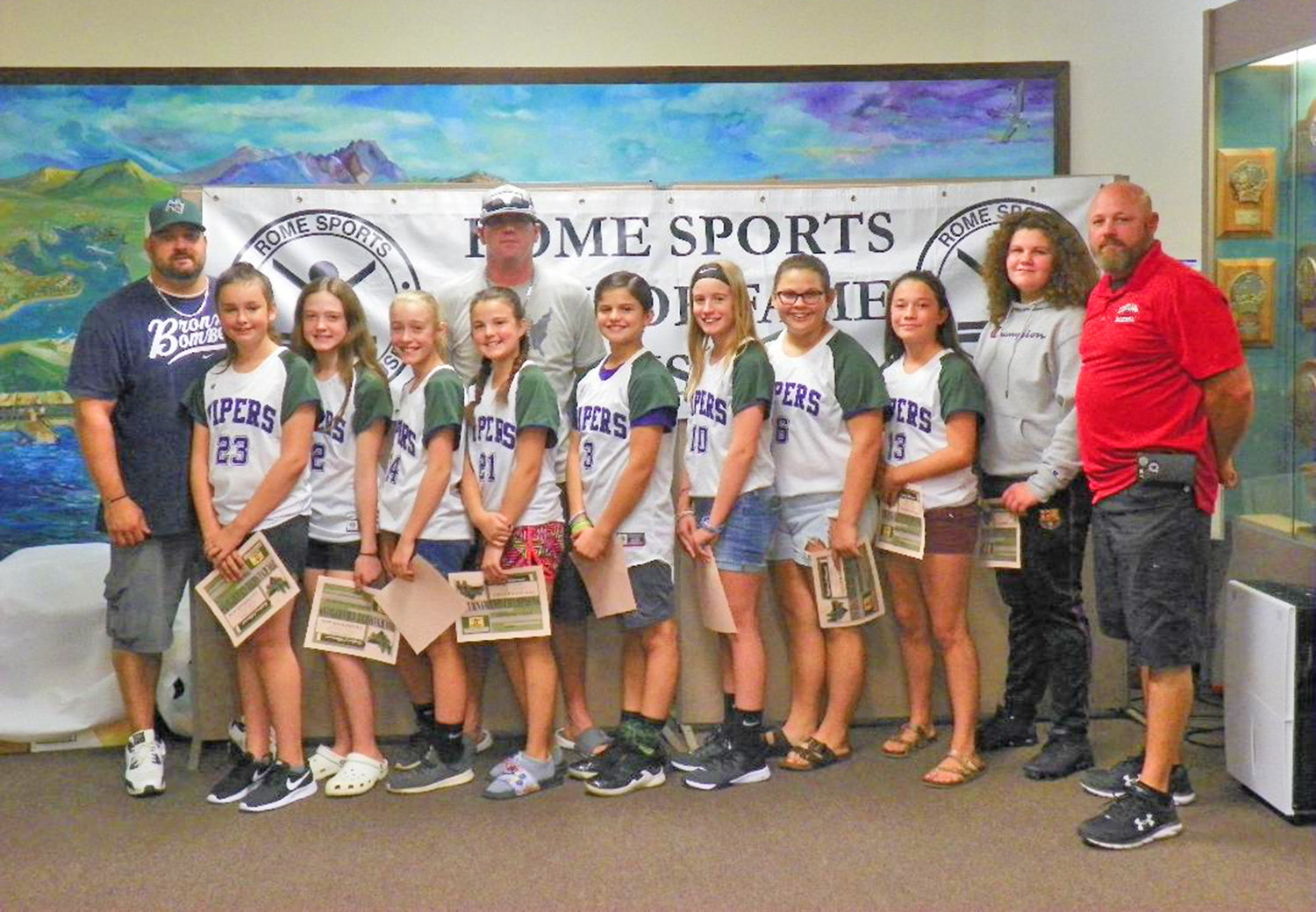 The Vipers were the Summer 12U Tournament champions in Rome Girls' Youth Softball.
