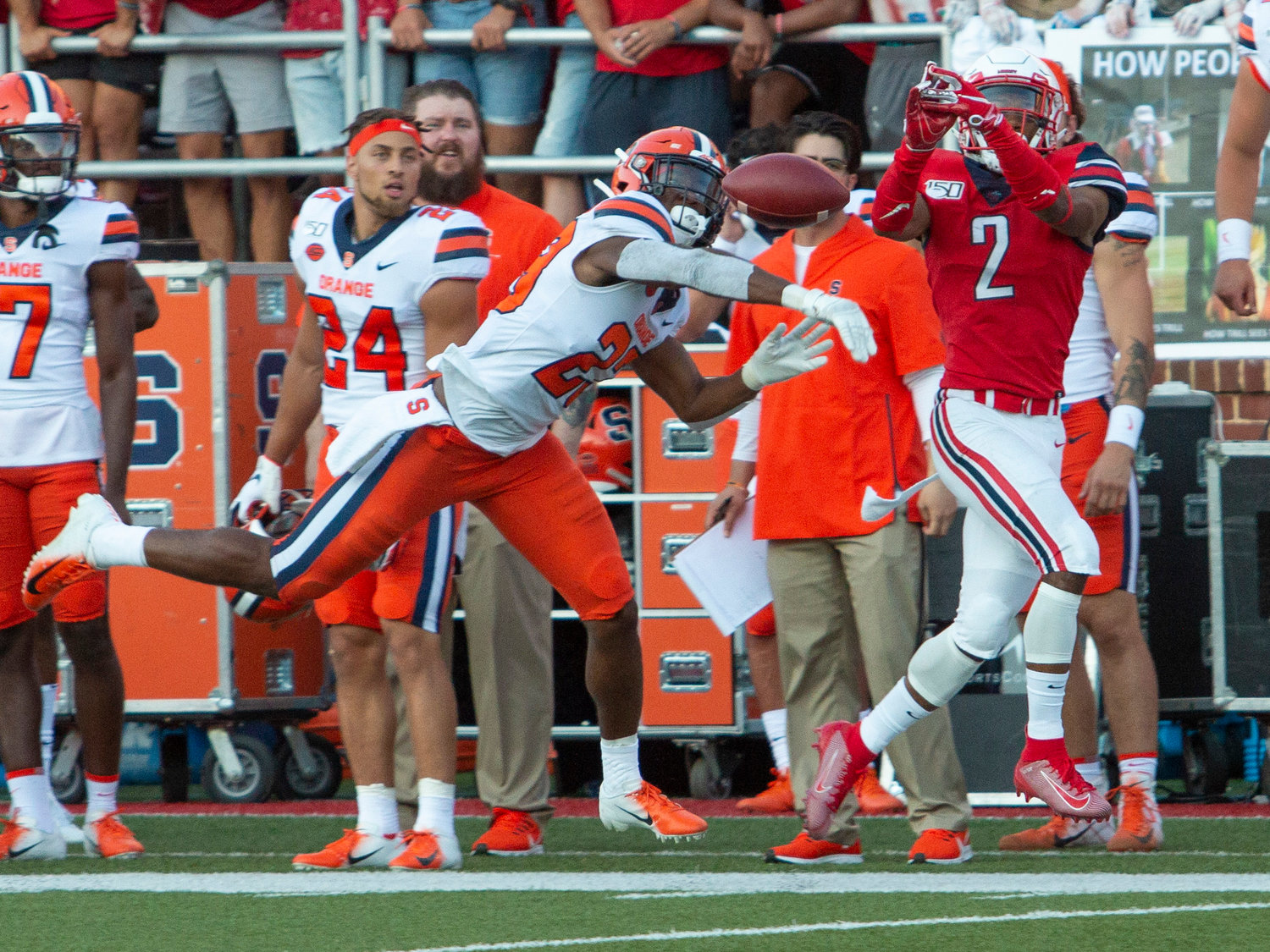 Syracuse's Adrian Cole bats away a pass intended for Liberty wide receiver Kevin Shaa during an NCAA game in Lynchburg, Va. Saturday.