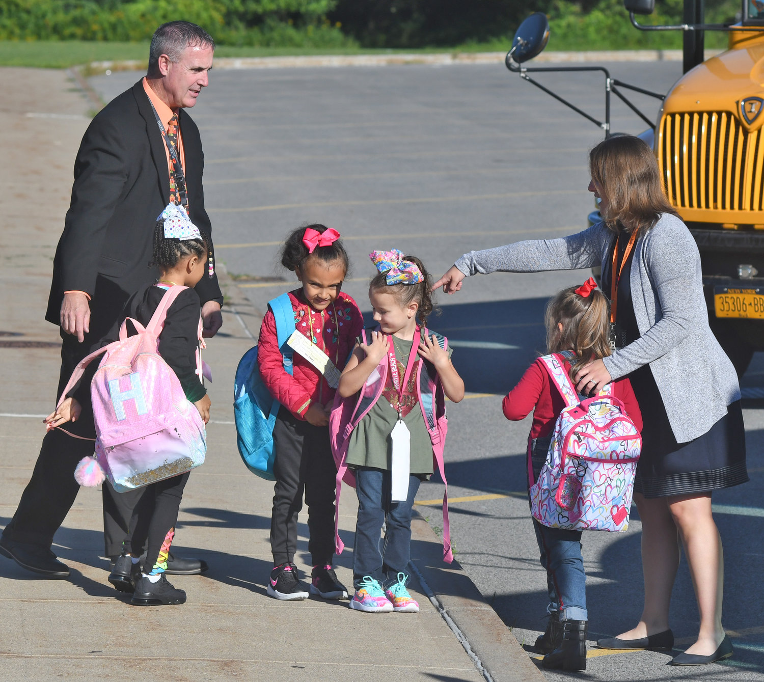 New Staley principal meets some of the students of Mackenzie Welter on their first day of school