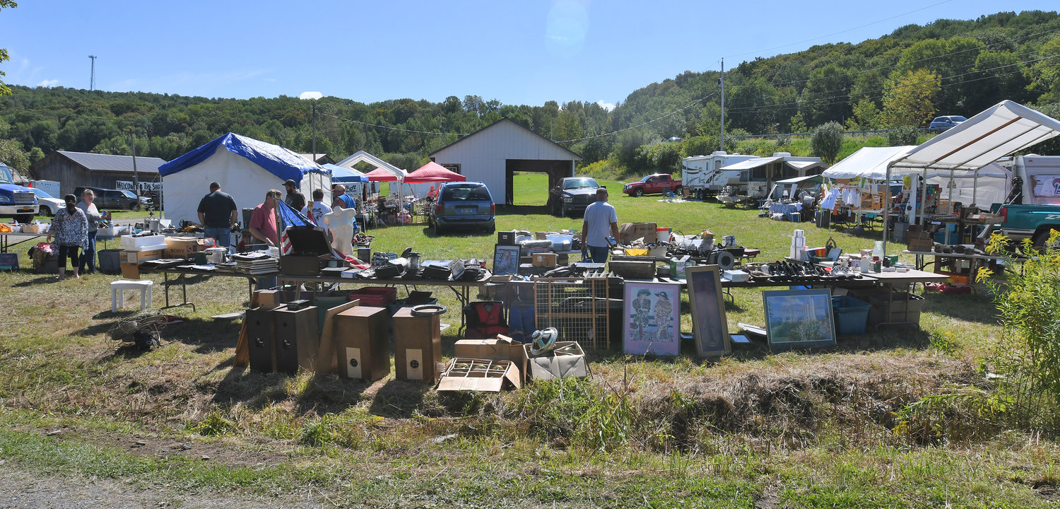The flea market portion of the Flywheel & Pully's Old Time Gas& Steam Engines/Flea Market off Route 26 Friday afternoon.