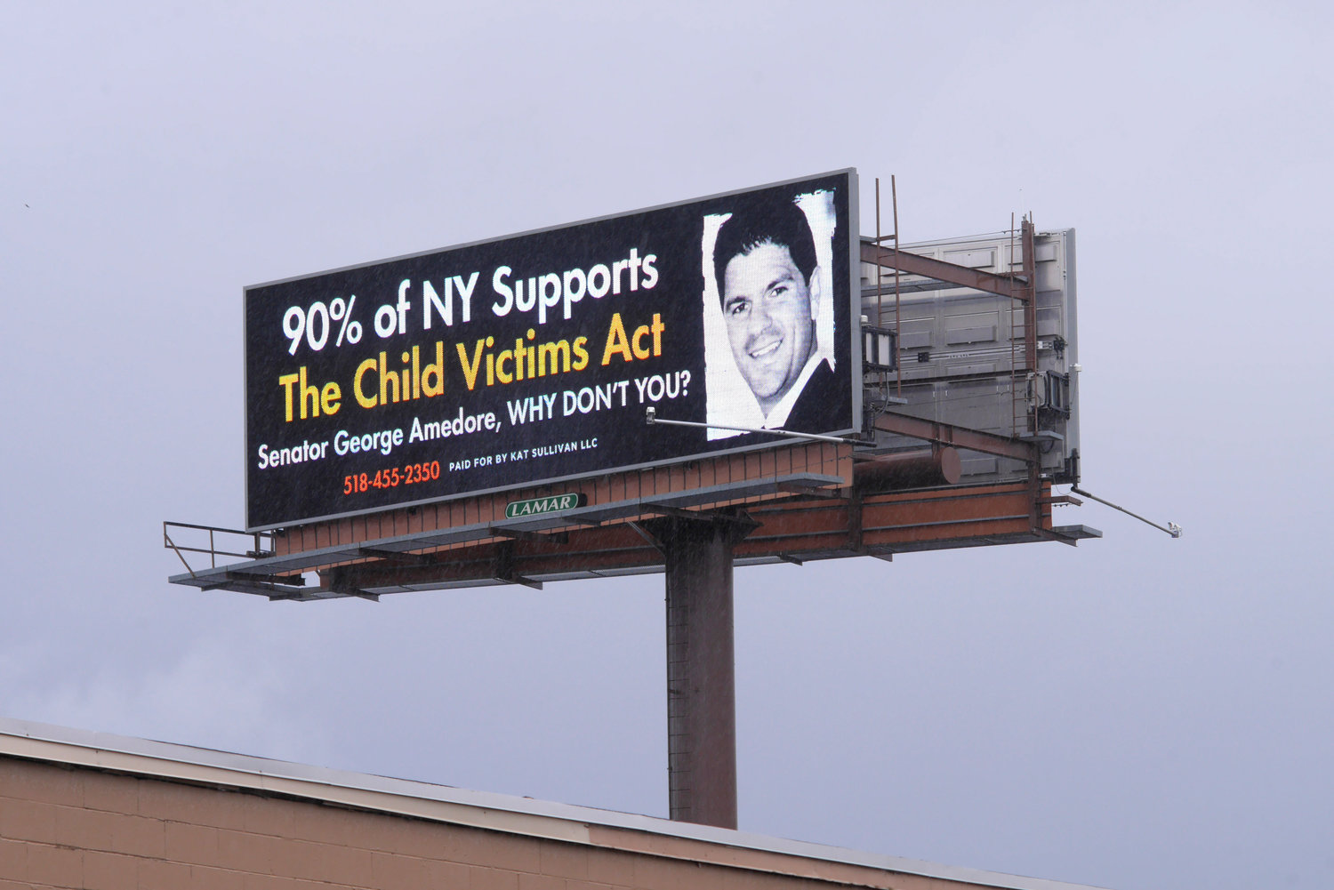 IN QUESTION — This April 2018 file photo shows a billboard in Albany with a message paid for by Kat Sullivan, a nurse who says she was assaulted by a teacher at a private school in  New York two decades ago.