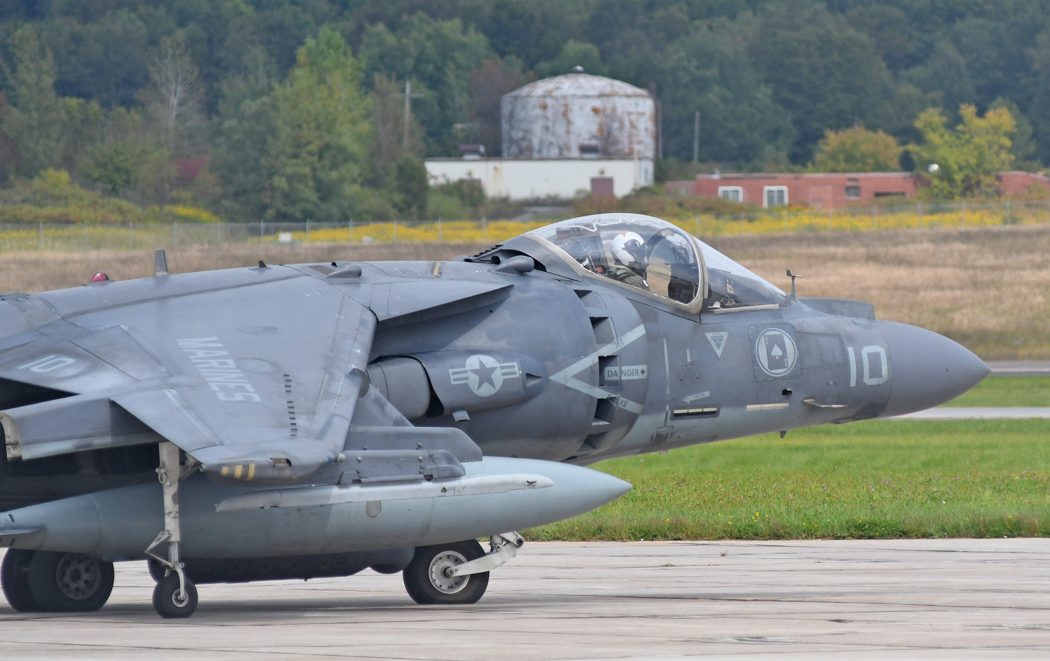 A Harrier pilot taxi's out to Griffiss runway Tuesday afternoon. The planes and crew are from Cherry Point, NC and will be in Rome all week doing exercises.