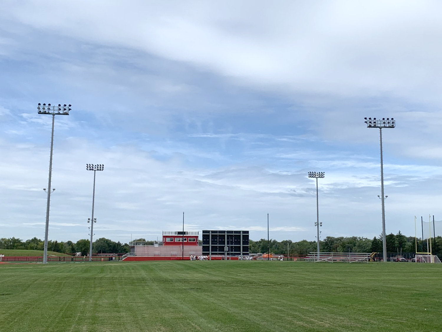 LIGHTING UP AGAIN — The lighting system at the Vernon-Verona-Sherrill school district's Sheveron Stadium is back in operation, as light poles that were brought down last spring due to structural concerns have been reinstalled and have undergone final testing.