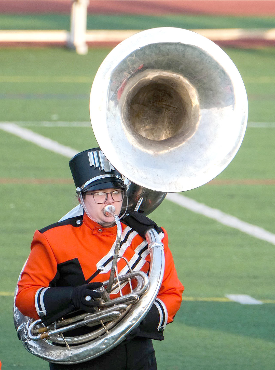 TUBA TIME — Rome Free Academy marching band member Giovanna Sudol hits the notes during homecoming activities Sept. 27 at RFA Stadium.