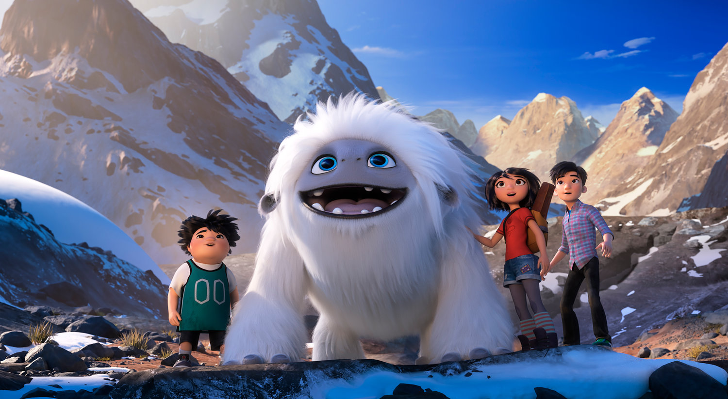 "ON AN ADVENTURE — Characters, from left, Peng, voiced by Albert Tsai, Everest the Yeti, Yi, voiced by Chloe Bennet and Jin, voiced by Tenzing Norgay Trainor, in a scene from ""Abominable."""