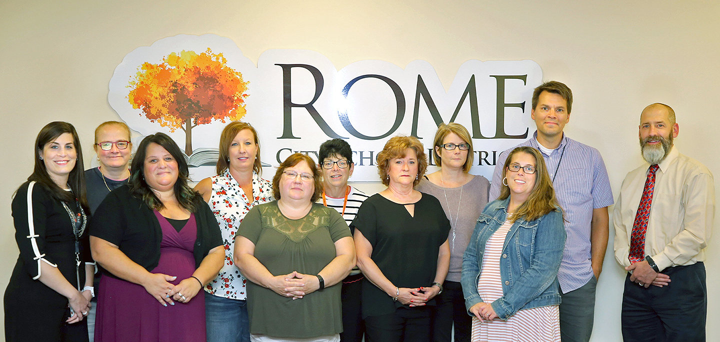 STEM PROJECT FUNDING — Among Rome school district teachers who have been awarded funding from a Rome Air Force Research Laboratory grant initiative for STEM (science, technology, engineering, math), in back from left: Courtney Huf, Stephanie Paisley, Jill Schaal, Sue Alger and Christian Arthur. In back at far right is Jeff DeMatteis, Rome Lab STEM outreach coordinator. In front, from left: school district Director of Fine Arts and Engineering Technology Andrea Falvo, Amanda Pacicca, MaryAnn Urbanik, Maura Tarbania and Leslie Lewthwaite.