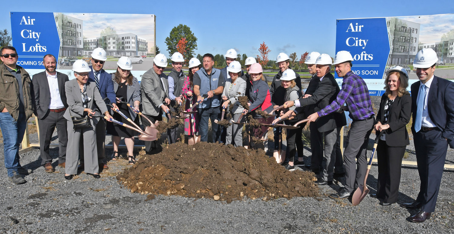 SHOVELS READY — Developers and area officials gathered today for a ceremonial ground-breaking of the Air City Lofts at the Griffiss Business and Technology Park Tuesday morning.