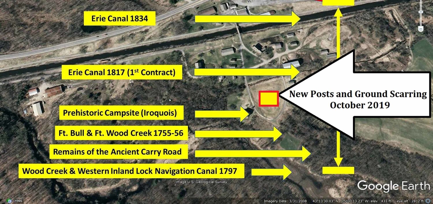 PLANS UNDER QUESTION — This image provided by the Rome Historical Society indicates a new construction site at the former Erie Canal Village property, and its proximity to other historical sites.