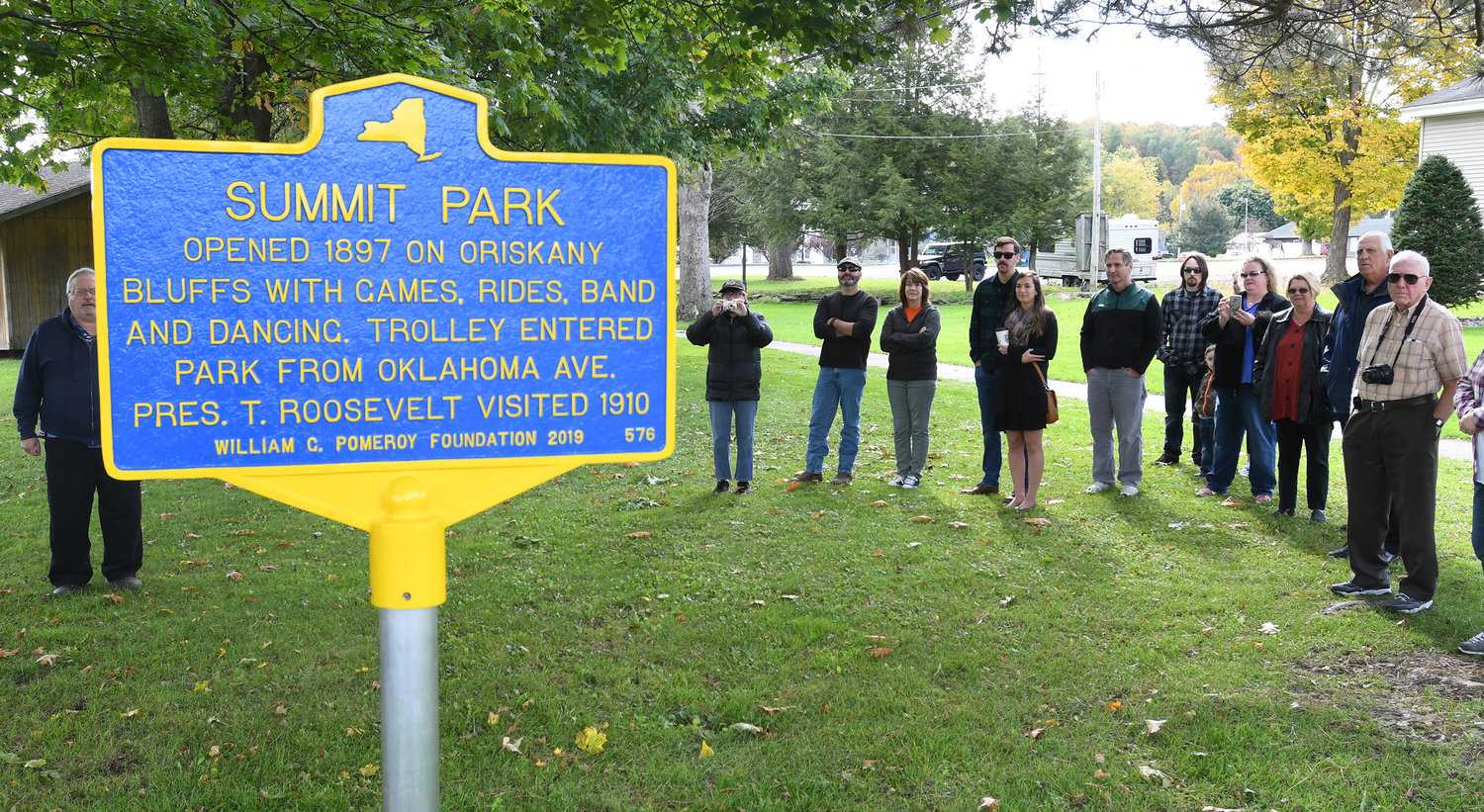 People gathered at Summit Park for the historic marker reveal Saturday morning in Oriskany.