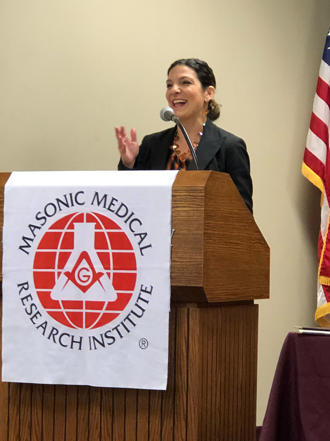 EXCITED— Gordon K. Moore Professor and Chair of Biomedical Research and Translational Medicine Maria Kontaridis Ph.D welcomes all to the announcement of MMRI's partnership with four other local organizations for research directed at autism spectrum disorder on Thursday, Oct 17. at the institute's research center in Utica.