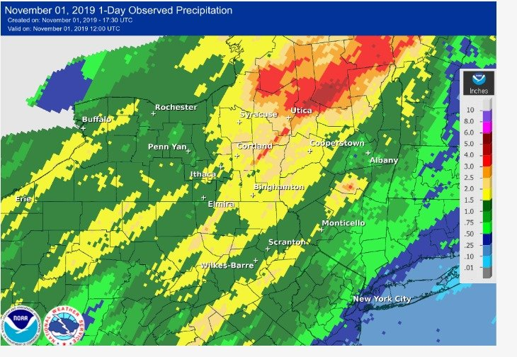 RAINFALL —The National Weather Service Advanced Hydrologic Prediction Service produced this map showing rainfall reported Thursday through early Friday. Darker red areas show five inches of rain from northern Chenango County through southern Hamilton County.