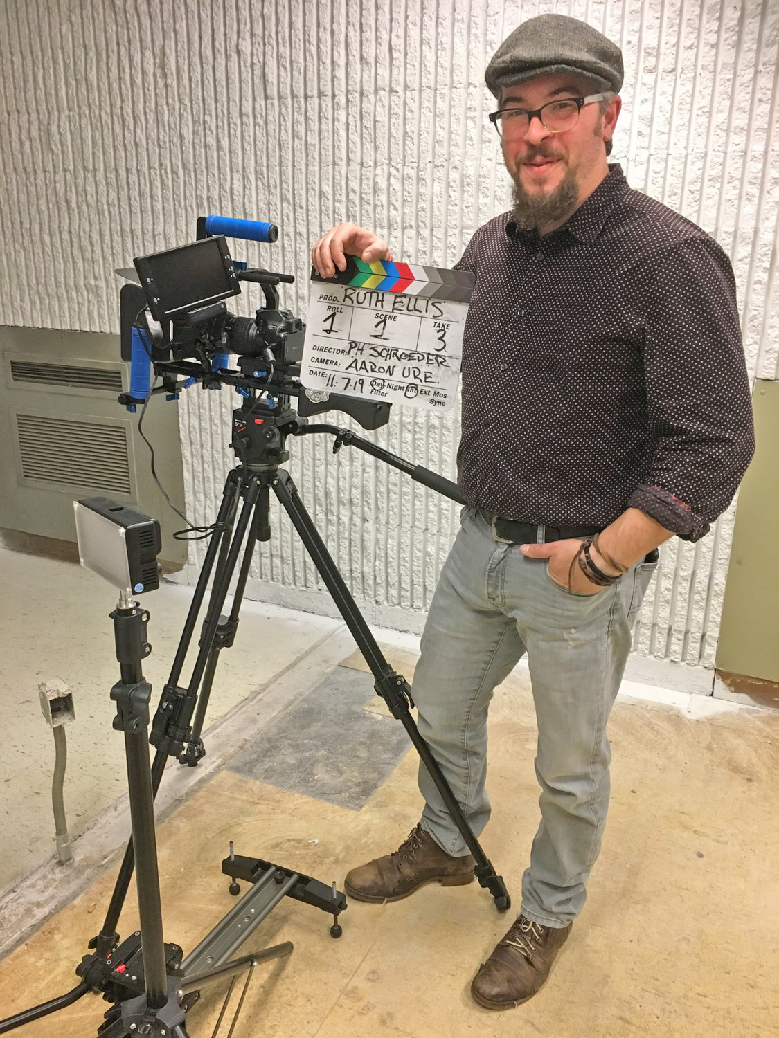 "LIGHTS, CAMERA… — Aaron Ure, of Image House Productions in Barneveld, stands by his camera waiting to shoot scenes of the feature-length film, ""Ruth Ellis"" in Oneida.  A local casting call is going out for an actress qualified to play the lead role."